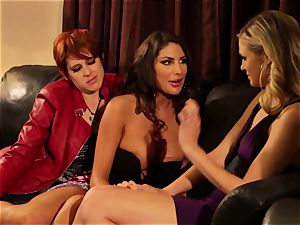 August Ames and Lily Cade wire on couch fucky-fucky