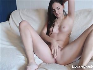 super-cute gal Using Her thumbs To jerk For You
