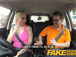 faux Driving school yam-sized bra-stuffers stunner penetrates her instructor