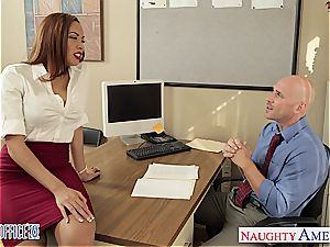 Stockinged stunner Serena Ali tear up in the office