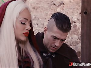 tiny red riding spandex hood Elsa Jean romped nads deep by draped hunter