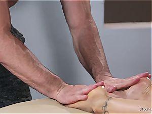 Married towheaded bombshell getting kinky by a bulky masseuse
