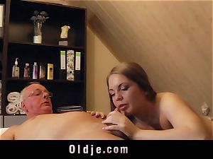 aged man screws towheaded massagist spunks in her throat