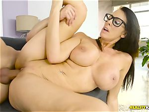 Mature ginormous hooters housewife Reagan Foxx entices her crazy stepson