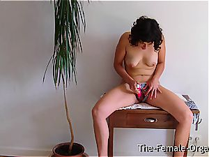 wooly college damsel jerks her dripping beaver