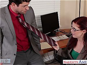 ginger-haired hottie in glasses Penny Pax boink in the office