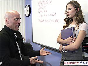 slender Jillian Janson horny for her teacher's trouser snake