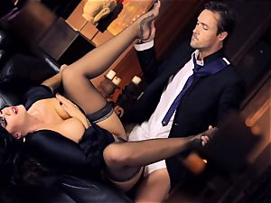 ebony haired Alison Tyler nails her suited paramour