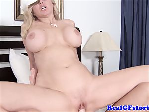 humungous boobed blond housewife liking manhood
