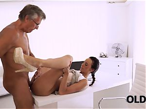 OLD4K. ideal secretary entices elder boy to get another promotion