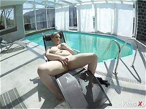 giant tit cougar draining at the pool
