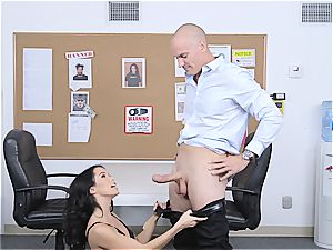 puny bouncer Megan Rain inspects client's trousers for concealed weapon