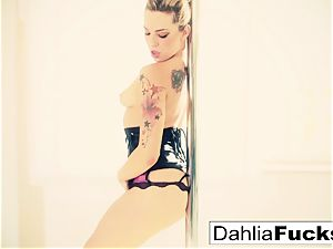 Dahlia faux-cocks her cock-squeezing moist cooter