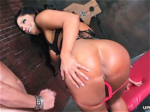 encaged brown-haired sucks fuck-stick and receives stiff nailing
