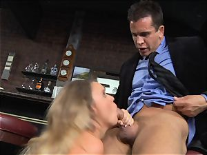 Alexis Adams smashes the manager in the bar
