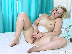 blond snatch play in vintage brassiere garter sheer nylons