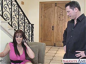 elegant Jayden Jaymes sprays her bra-stuffers out and gets porked