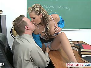 big-chested babe Phoenix Marie gets rump poked in classroom