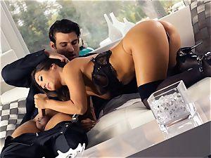 Eva Lovias delicious backside is caked with jizm