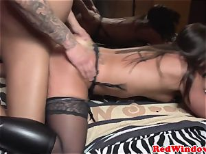 Real dutch hooker doggystyled in stocking