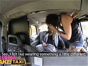 damsel faux cab huge dark-hued penis screws wild driver
