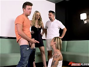 lesbos Kleio Valentien and her gf Keira Nicole tricked into deep-throating stiffy