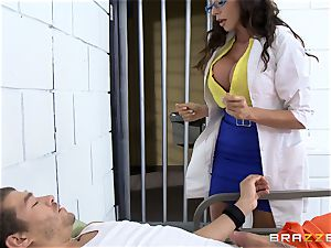 uber-sexy prison doc Ariella Ferrera drains off her patient