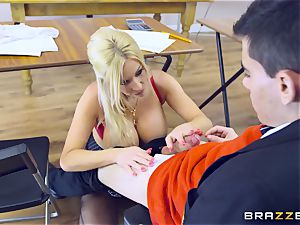 young man in college uniforms ravages his big-chested tutor Michelle Thorne