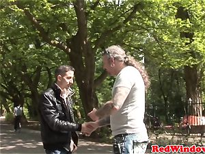 Dutch stockinged call girl rectally fingerblasted
