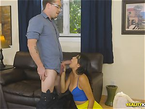 naughty real estate agent Sophia Leone jams a customers jizz-shotgun in her facehole