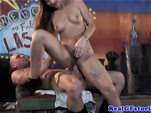 girlfriend housewife spitting on man-meat