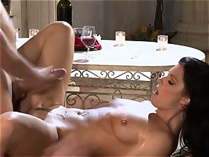 India Summers India Summers is enjoying the huge man rod pleasing her steamy muff har