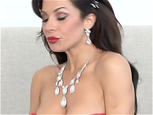 steamy super hot Jadra Holly is on fire in red undergarments