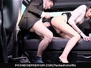 boinked IN TRAFFIC - Cowgirl penis riding in the backseat