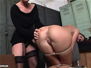 Kathia Nobili lets a steaming damsel blow her strap on