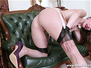 stunner takes off to nylons high-heeled slippers to fucktoy her cooch
