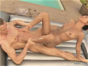huge prick slides into beauty outdoors