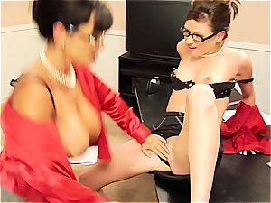 Lisa Ann teasing her coworker's furry muff