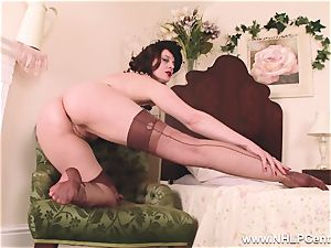 torrid mummy faux-cocks plaything to climax in stocking suspenders