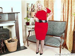 curvy blonde jacks in grey nylons and high heels