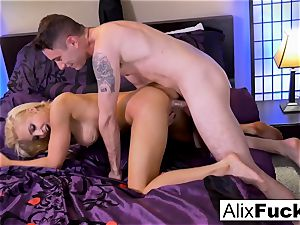 Alix Lynx wanks Brad's schlong with her poon and mouth