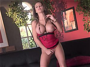 Jenna Presley takes it off leisurely to demonstrate off her big orbs and smoking body